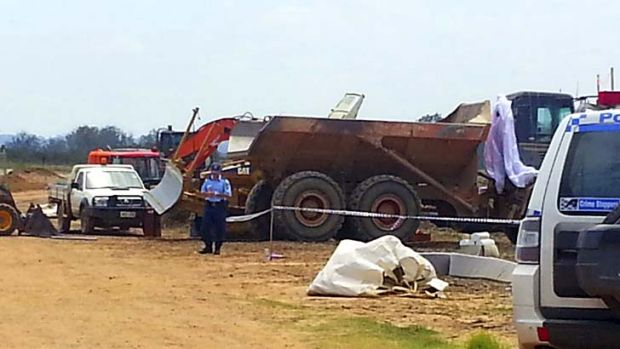 The skydiver hit a dump truck on a construction site.