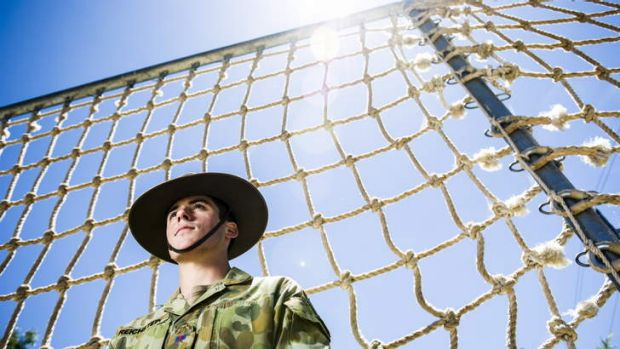 Duntroon RMC Staff Cadet, Alex Reichstein, at the obstacle course at Duntroon.