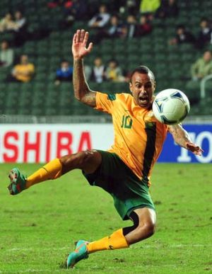 Archie Thompson in hat-trick form against Guam.