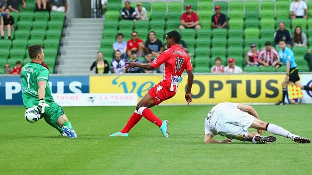 On target: Golgol Mebrahtu scores for Heart in the Melbourne side's win over Perth