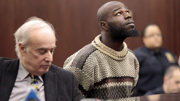 Naeem Davis, right, in front of Judge Lynn Kotler during his arraignment on murder charges on Wednesday in New York.