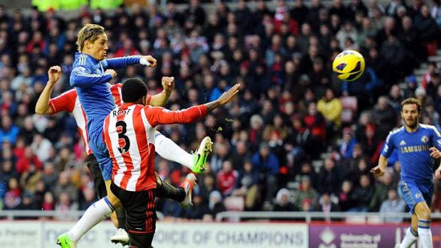 Best foot forward ... Fernando Torres ends his long Premier League scoring drought for Chelsea on Saturday against ...