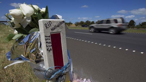 A roadside memorial to five people who died in a road accident near Lara last month.