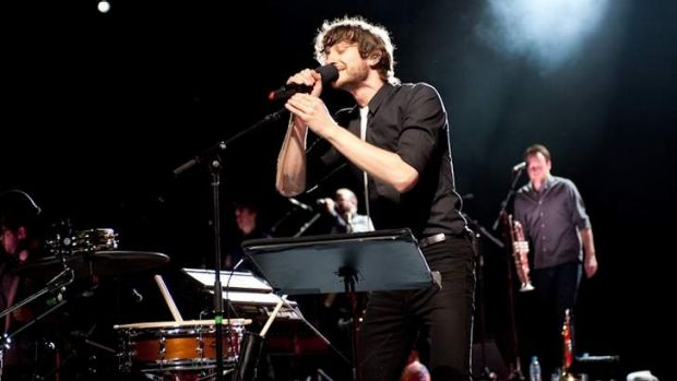 Gotye with his expanded band at the Music Bowl.