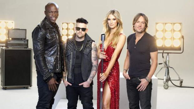 Judges for WIN TV's <i>The Voice</i>, from left, Seal, Joel Madden, Delta Goodrem and Keith Urban.