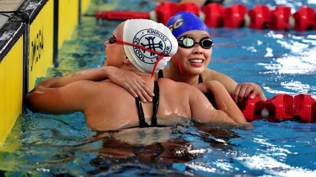 Bonnie Zhang celebrates after winning the 50m Splash for Cash at the AIS.