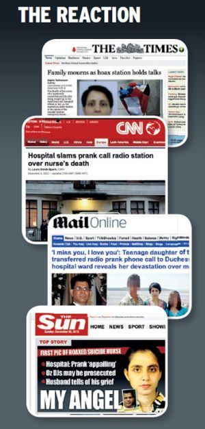 US and UK media coverage of fallout from the radio prank.