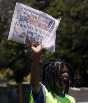 Prepared for the worst ... Nelson Mandela's condition was splashed across the front pages of South Africa's Sunday ...