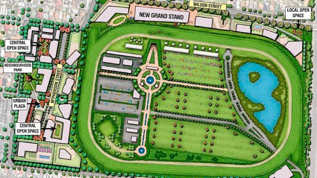 An overhead view of the proposed racecourse redevelopment.