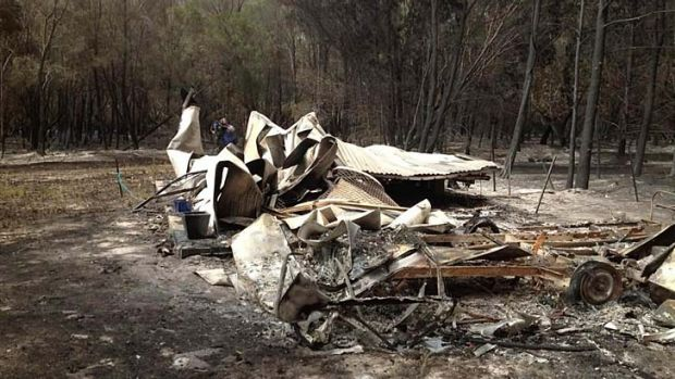 Three caravans were destroyed by the bushfire.