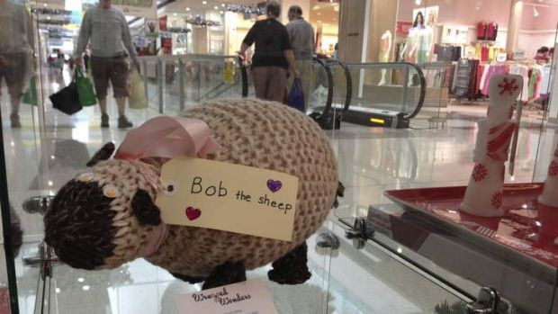 One of Dr Frances Miley's knitted sheep on display at the Gungahlin shops.