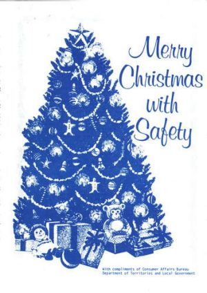 The cover of Merry Christmas With Safety, a pamphlet from 1983.