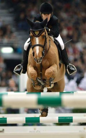 Australian Edwina Tops-Alexander on Cevo Itot du Chateau at the FEI World Cup competition in Geneva.