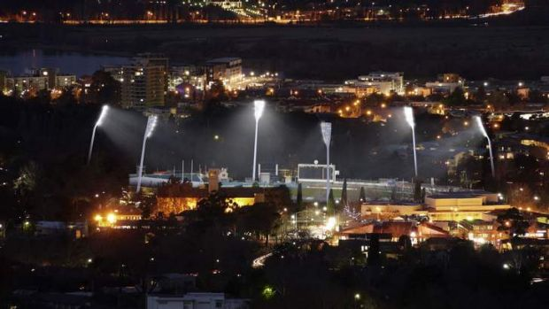 An artist's impression of the new lights at Manuka Oval.