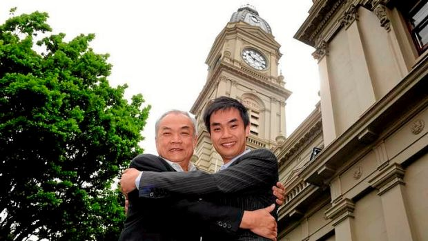 The former Lord Mayor John So (left) with his son, John So Jr, who failed in his bid to become Melbourne's Deputy Mayor ...