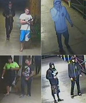 CCTV images of five men at the Cleveland Showgrounds on Saturday, November 10.