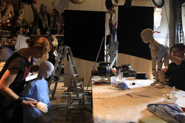 Katrina Lynch on right and Aesha Henderson on left working on puppets.
