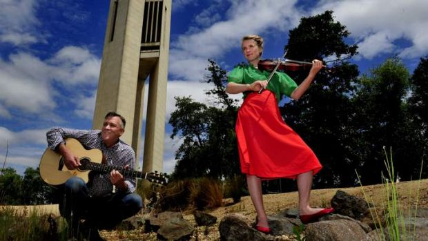 Father and daughter duo, Jacqueline Bradley and Kevin Bradley of Ainslie at the Carillon, Canberra. They will playing at ...