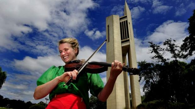 "Jacqueline Bradley of Ainslie at the Carillon, Canberra. She will playing at "" Back to the island exploring our folk ..."
