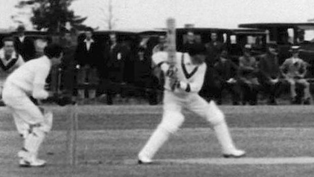 Cricket legend ... the Don in action.