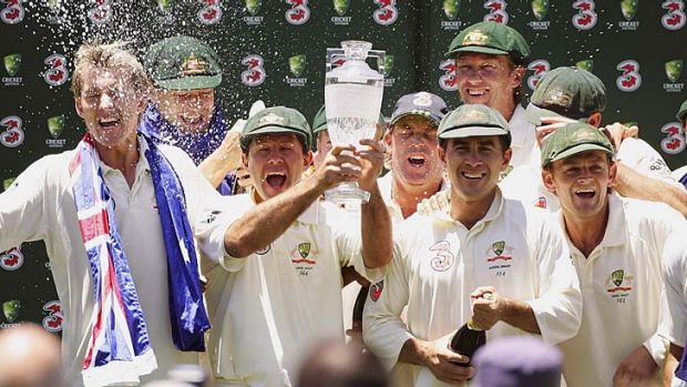 Ecstasy ... Australian players celebrate an Ashes clean sweep at the SCG in 2007.