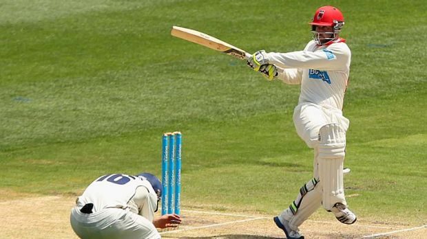 Leggin' it: Phillip Hughes has become a much better player on the leg side.