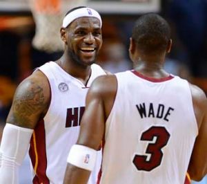 A job well done: Miami Heat's LeBron James and Dwyane Wade.