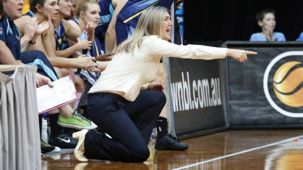 Canberra Capitals coach Carrie Graf yells at her players during a recent match.