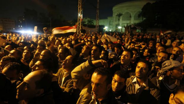 Protesters in front of the presidential palace during a demonstration in Cairo.