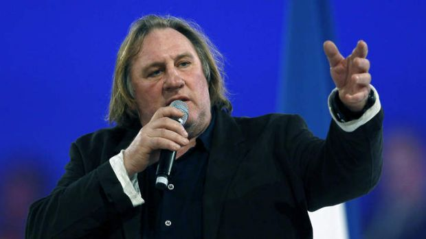 Political stance ... Gerard Depardieu at a meeting to support the former president Nicolas Sarkozy earlier this year.