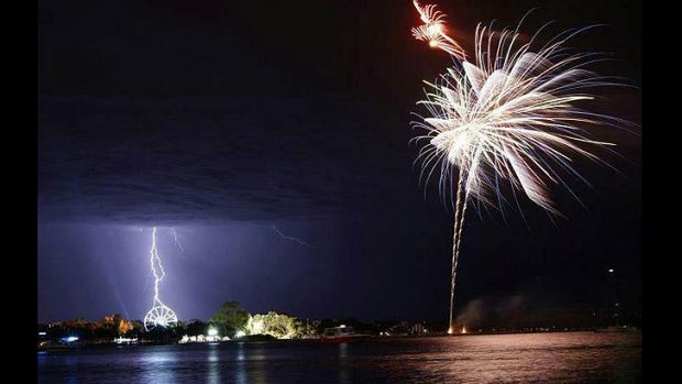 Storm and fireworks at Mandurah - December 11 2012. Photo Melanie Police/Coast FM.