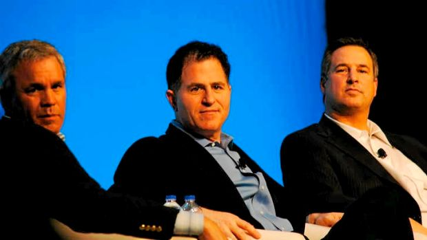 Michael Dell, centre, between Steve Felice, Dell president and chief commercial officer (left) and Marius Hass, ...