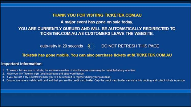 Ticketek displayed this message on their website this morning.