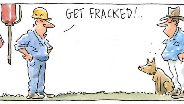 Fracking ... the answer to England's prayers? <i>Illustration: Rod Clement.</i>