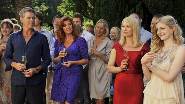 Back to the Med … Pierce Brosnan, left, joins the usual line-up of guests you love to hate, at the wedding of his ...