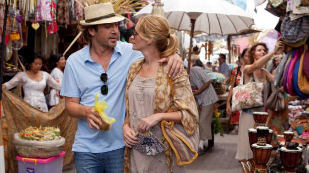 Julia Roberts as Elizabeth Gilbert and Javier Bardem  as Felipe in <i> Eat Pray Love</i>.