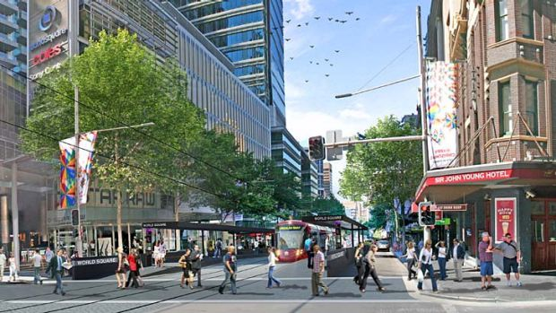 Tram plan ... the view from World Square.