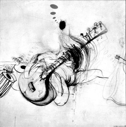 A Brett Whiteley piece, of Ravi Shankar.