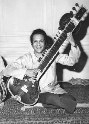 Ravi Shankar at a press conference at the Hyde Park Hotel, London.