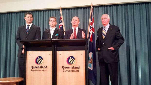 Queensland Premier Cambell Newman announcing the inquiry into the bungled health payroll system.