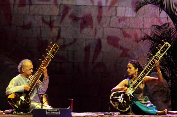 Ravi Shankar and his daughter Anoushka Shankar perform at the opening of Beiteddine International Festival, 2005, Lebanon.