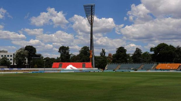 One of the six field lights went up at Manuka Oval on Thursday, December 13.