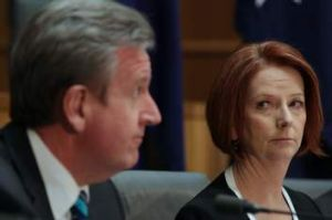 NSW Premier Barry O'Farrell and Prime Minister Julia Gillard at last week's COAG meeting at Parliament House.