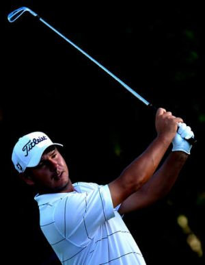 Daniel Popovic plays a shot during round one of the Australian PGA.