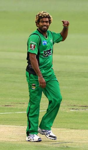 Six shooter ... Lasith Malinga was all smiles after taking six wickets for Melbourne Stars on Wednesday.