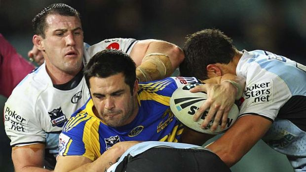 Tight squeeze ... Eric Grothe jnr will join his father, Eric snr, on the board of the Parramatta District Rugby League Club.