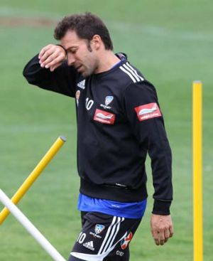 Hamstrung ... Del Piero feels the strain.