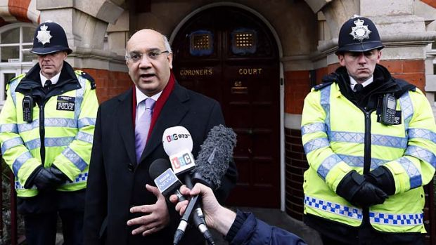 MP Keith Vaz addresses the media on behalf of the Sadantha family outside Westminster Coroner's Court.