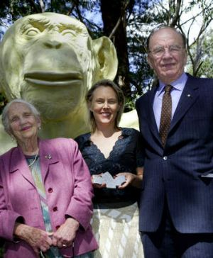 McClelland Gallery + Sculpture Park's standouts includes<i> White Ape</i> by Lisa Roet (with Dame Elisabeth and Rupert ...