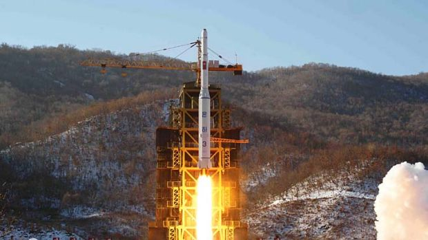 The Unha-3 rocket carrying the second version of Kwangmyongsong-3 satellite launches North Pyongan on Wednesday.